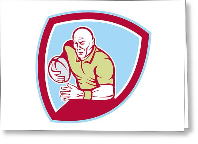 Rugby League Greeting Cards - Rugby Player Running Charging Shield Cartoon Greeting Card by Aloysius Patrimonio