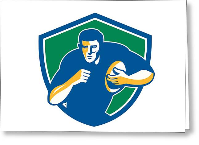 Rugby League Greeting Cards - Rugby Player Running Fending Shield Retro Greeting Card by Aloysius Patrimonio
