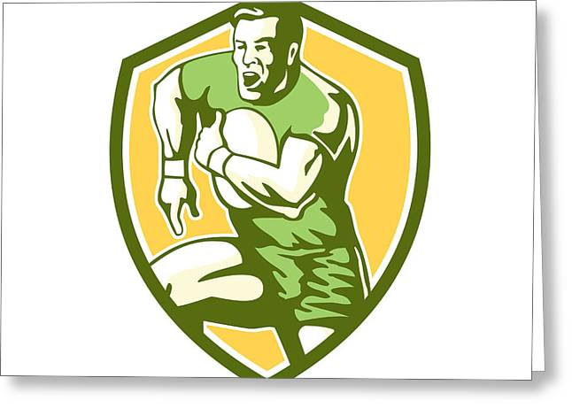 Rugby League Greeting Cards - Rugby Player Running Goose Steps Shield Retro Greeting Card by Aloysius Patrimonio