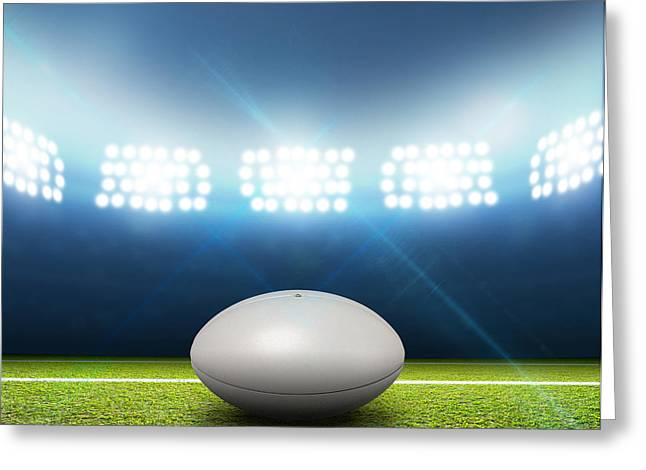 Rugby Stadium And Ball Greeting Card by Allan Swart