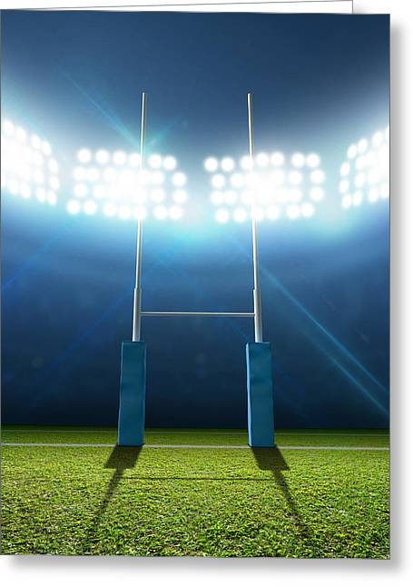Sports Fields Greeting Cards - Rugby Stadium And Posts Greeting Card by Allan Swart