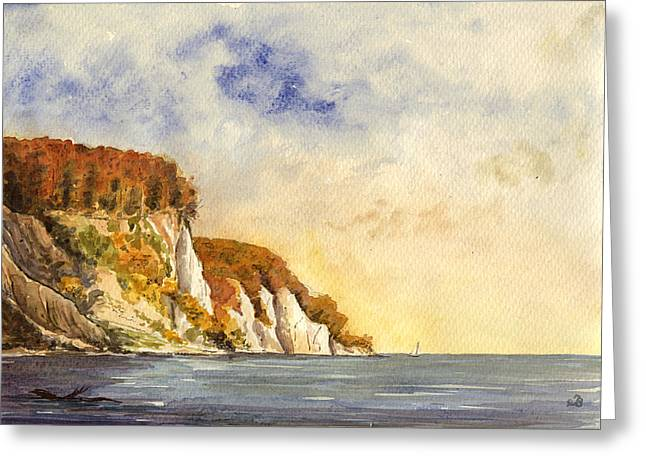 Baltic Sea Greeting Cards - Rugen cliffs Greeting Card by Juan  Bosco