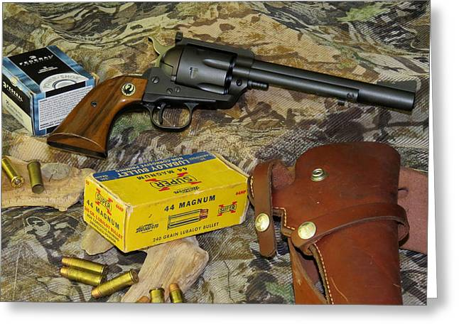 44 Magnum Greeting Cards - Ruger Blackhawk Still Life Greeting Card by Kent Dunning