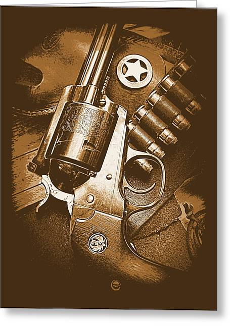 44 Magnum Greeting Cards - Ruger Super Blackhawk in Sepia 1 Greeting Card by Sheri McLeroy