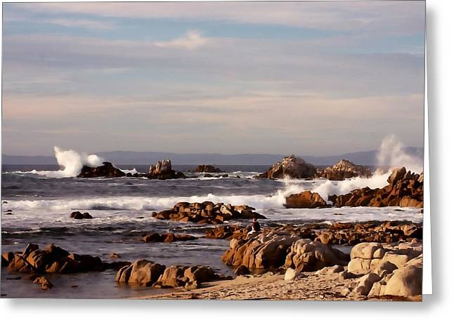 Pacific Grove Beach Greeting Cards - Rugged California Coast Greeting Card by Art Block Collections