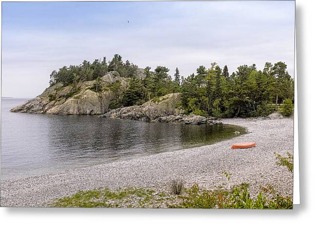 Canoe Photographs Greeting Cards - Rugged Cliffs And Pebble Beach Greeting Card by Panoramic Images