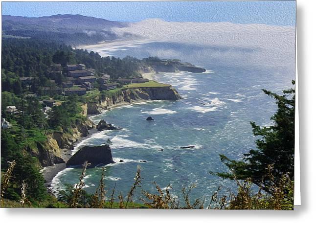 Foggy Beach Greeting Cards - Rugged Oregon Coast Greeting Card by John Bailey