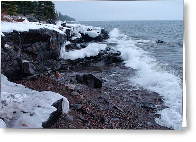 Peterson Nature Photography Greeting Cards - Rugged Shore Winter Greeting Card by James Peterson
