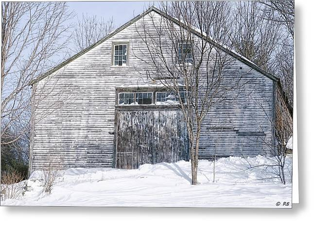 Old Maine Barns Greeting Cards - Rugged Winter Beauty Greeting Card by Richard Bean