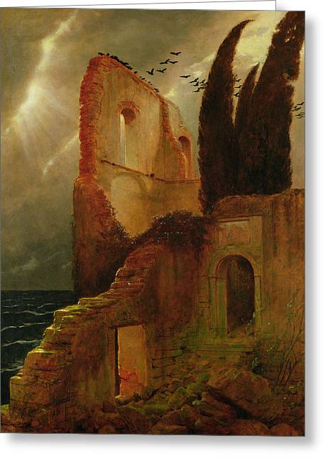 Coastal Landscape Greeting Cards - Ruin By The Sea, 1881 Greeting Card by Arnold Bocklin