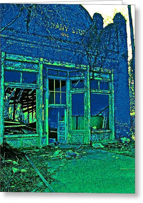 Store Fronts Greeting Cards - Ruin in Blue Greeting Card by Kerry Brown