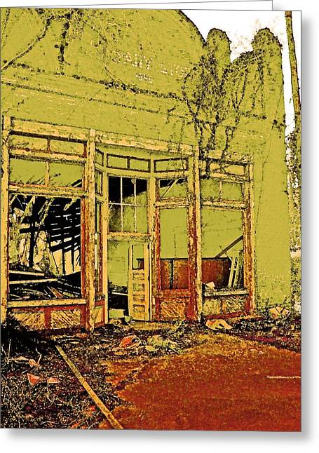 Store Fronts Greeting Cards - Ruin in Chartreuse Greeting Card by Kerry Brown