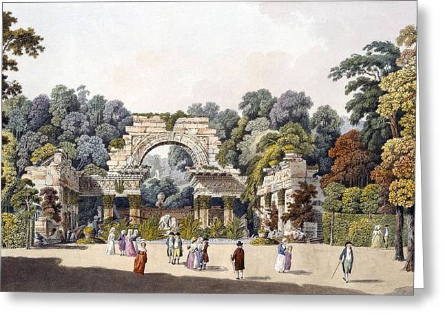 Romanticism Drawings Greeting Cards - Ruin In The Garden Of The Palace Greeting Card by Laurenz Janscha
