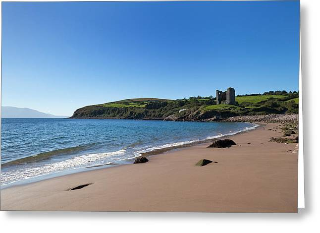 Rocky Beach Greeting Cards - Ruined 16th Century Minard Castle Greeting Card by Panoramic Images