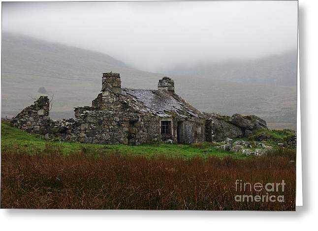 Nicola Butt Greeting Cards - Ruined Cottage Snowdonia Greeting Card by Nicola Butt