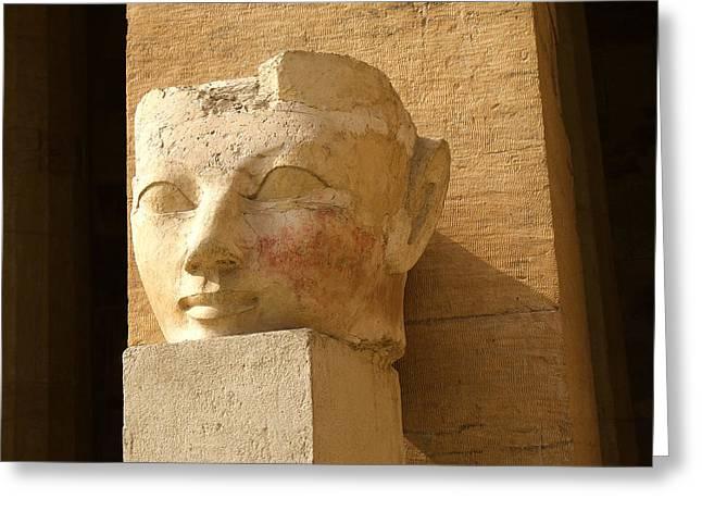 Hathor Greeting Cards - ruined head of Hatshepsut Greeting Card by Brenda Kean