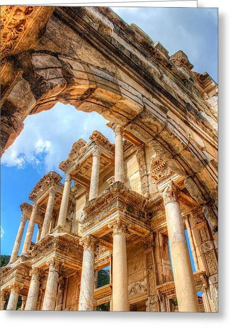 Laura Palmer Greeting Cards - Ruined Library in Ephesus  Greeting Card by Laura Palmer
