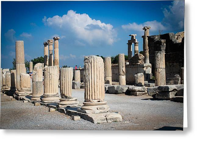 Laura Palmer Greeting Cards - Ruined marble columns in Turkey Greeting Card by Laura Palmer