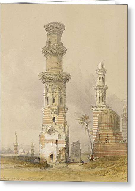Dilapidated Paintings Greeting Cards - Ruined Mosques in the Desert Greeting Card by David Roberts