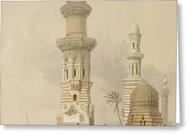 Ruined Mosques in the Desert Greeting Card by David Roberts