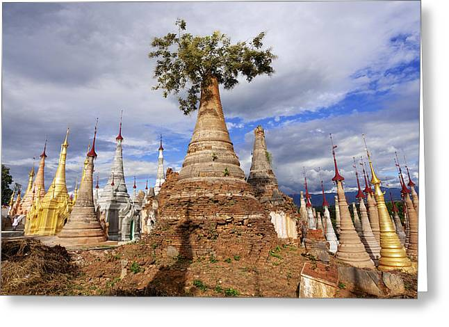 Remains Of Images Greeting Cards - Ruined Pagodas At Shwe Inn Thein Paya Greeting Card by Chris Caldicott