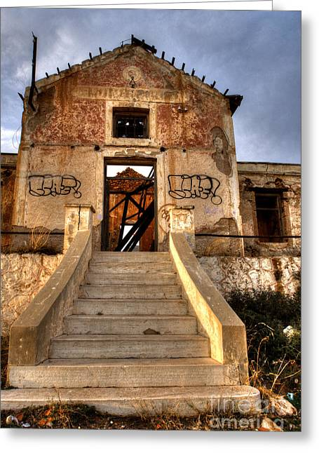 Shack Greeting Cards - Ruined Sounion House 7 Greeting Card by Deborah Smolinske