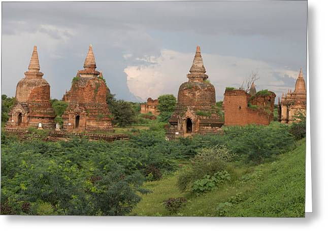 Buddhist Region Greeting Cards - Ruined Stupas Near Village Of Min Nan Greeting Card by Panoramic Images