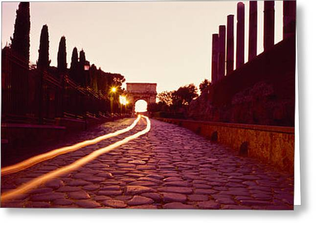 Headlight Greeting Cards - Ruins Along A Road At Dawn, Roman Greeting Card by Panoramic Images