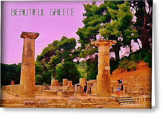 Photograph Of Painter Greeting Cards - Ruins at Olympus Greece Greeting Card by John Malone