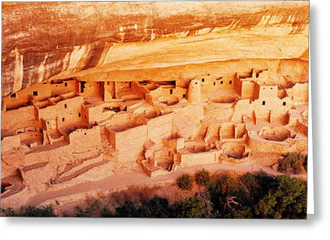 Native American Dwellings Greeting Cards - Ruins, Cliff Palace, Mesa Verde Greeting Card by Panoramic Images