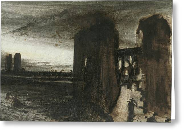 Ruins In A Landscape Greeting Card by Victor Hugo