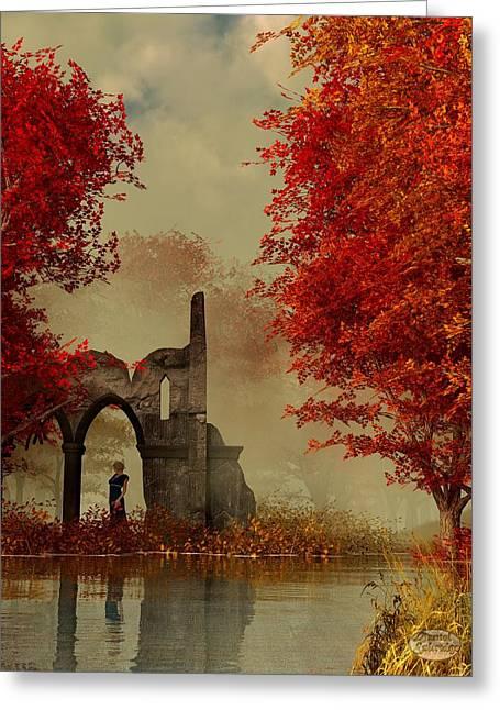 Autumn Digital Greeting Cards - Ruins in Autumn Fog Greeting Card by Daniel Eskridge