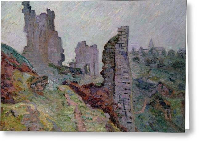 Run Down Paintings Greeting Cards - Ruins in the Fog at Crozant Greeting Card by Jean Baptiste Armand Guillaumin
