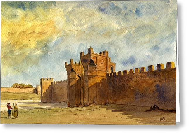 Ruins Paintings Greeting Cards - Ruins Morocco Greeting Card by Juan  Bosco