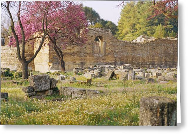 Ancient Civilization Greeting Cards - Ruins Of A Building, Ancient Olympia Greeting Card by Panoramic Images