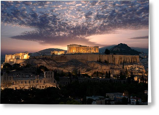 Ruins Of A Temple, Athens, Attica Greeting Card by Panoramic Images