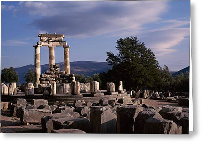 Ruins Of A Temple, The Tholos, Delphi Greeting Card by Panoramic Images