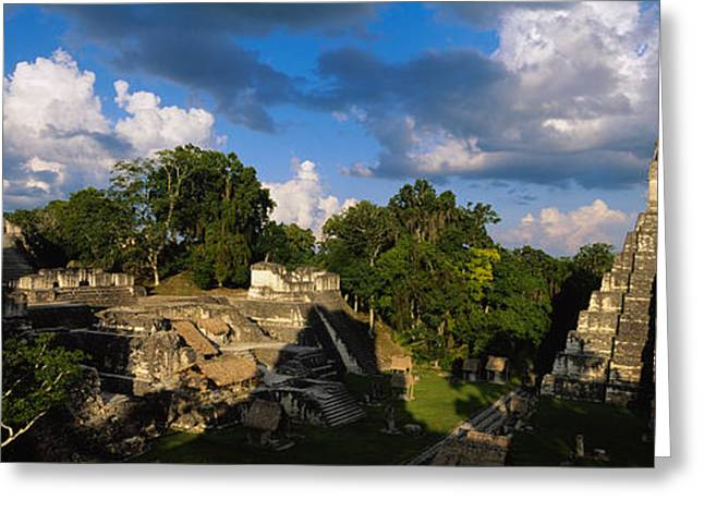 Guatemala Greeting Cards - Ruins Of An Old Temple, Tikal, Guatemala Greeting Card by Panoramic Images