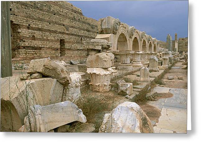 Run Down Greeting Cards - Ruins Of Ancient Roman City, Leptis Greeting Card by Panoramic Images