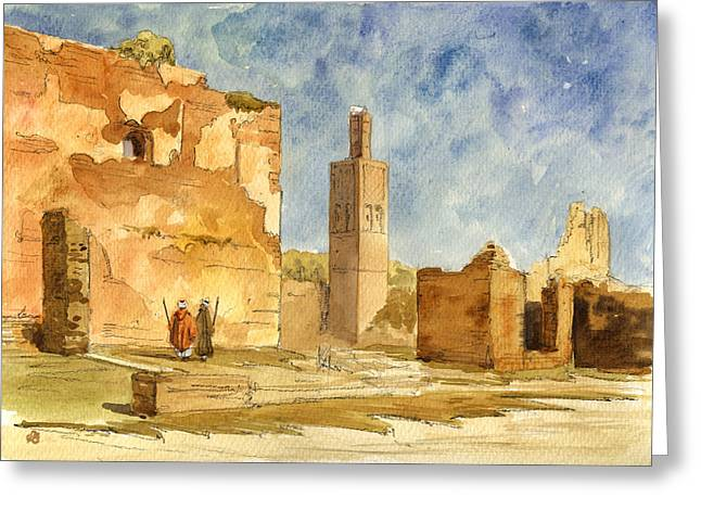 Ruins Paintings Greeting Cards - Ruins of Chellah  Greeting Card by Juan  Bosco