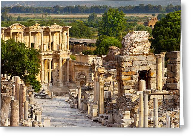 Library Of Celsus Greeting Cards - Ruins of Ephesus Greeting Card by Brian Jannsen