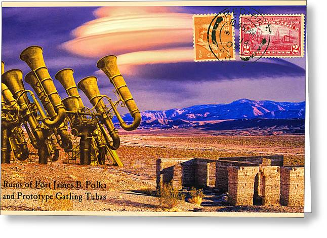 Old West Postcards Greeting Cards - Ruins of Fort James B. Polka and Prototype Gatling Tubas Greeting Card by Dominic Piperata