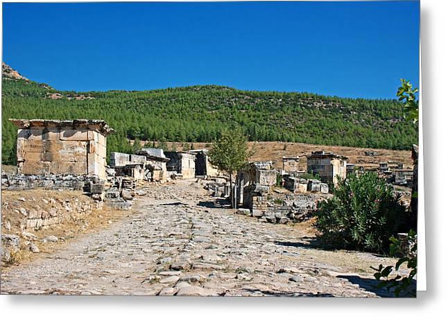 Byzantine Greeting Cards - Ruins of Hierapolis Pamukkale Turkey Greeting Card by Ken Biggs