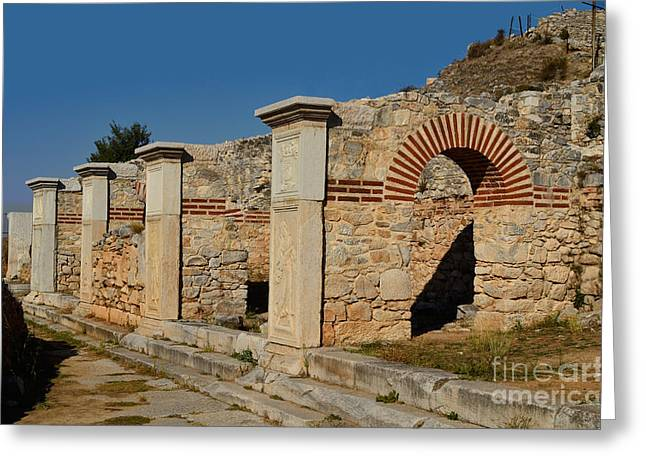 Ancient Ruins Greeting Cards - Ruins Of Philippi, Greece Greeting Card by Fritz J. Hiersche