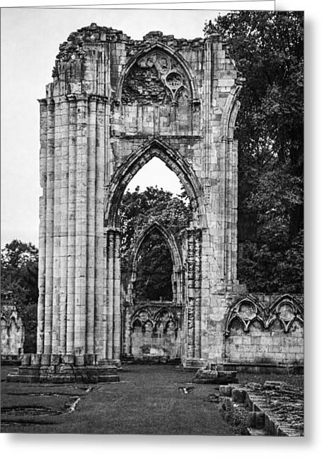 Minster Abbey Greeting Cards - Ruins of St. Marys Abbey Greeting Card by Ross Henton