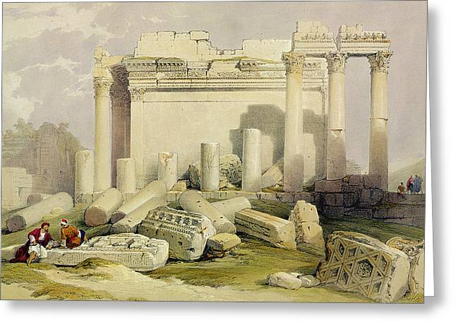 Landscape Drawings Greeting Cards - Ruins Of The Eastern Portico Greeting Card by David Roberts