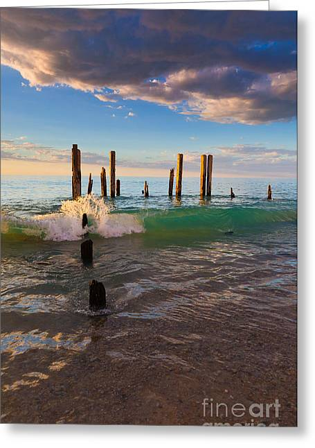 Ruin Photographs Greeting Cards - Ruins of the old Port Willunga Jetty Greeting Card by Bill  Robinson