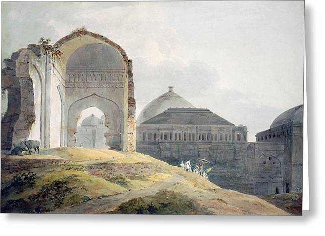 Ruins Of The Palace Of Madra Greeting Card by Thomas Daniell