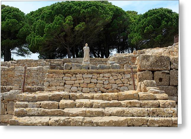 Greek Sculpture Greeting Cards - Ruins of the temple of Asklepios in the Greek City of Empuries Greeting Card by Louise Heusinkveld