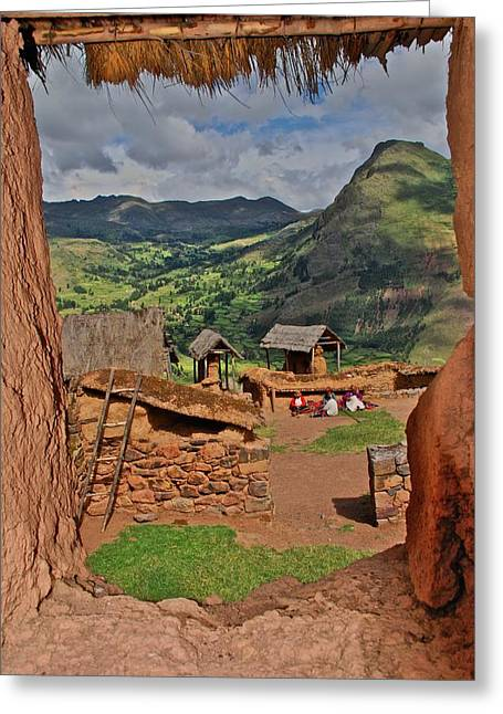 Textile Photographs Greeting Cards - Ruins outside Cusco Peru Greeting Card by Barbara Clark